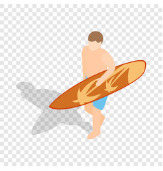surfer carries his surfboard isometric icon vector image