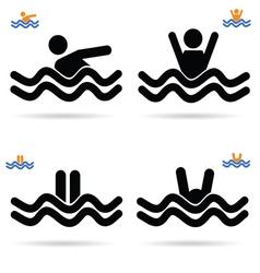 swimming icon vector image