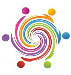 Teamwork swirl rainbow vector
