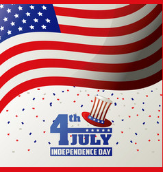4th july independence day usa flag waving confetti vector image