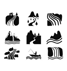 black river icons set vector image
