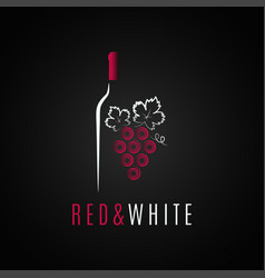 wine bottle logo design red and white wine grape vector image vector image