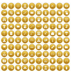100 violation icons set gold vector image vector image