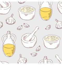 Hand drawn aioli sauce seamless pattern background vector image
