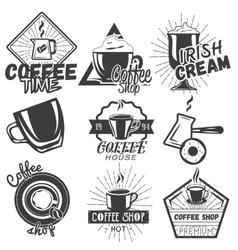set of coffee and cafe labels in vintage vector image vector image