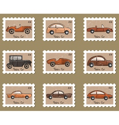 Stamp retro cars collection vector