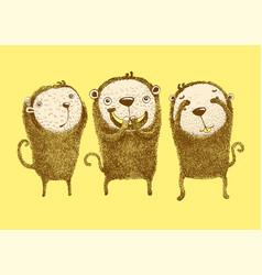 3 monkeys vector image