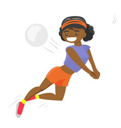 African-american sportswoman playing volleyball vector