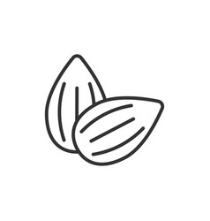 almond icon in flat style bean on white isolated vector image