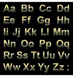 Alphabet pseudo 3d golden letters on a black vector