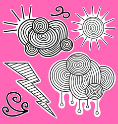 Animation black-and-white stickers about weather vector