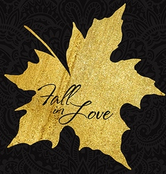 Autumn maple leaf with gold acrylic texture vector