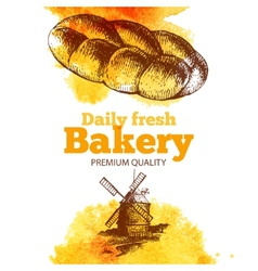 Bakery watercolor and sketch background vector image