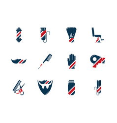 Barber shop accessories tools cosmetics icons set vector