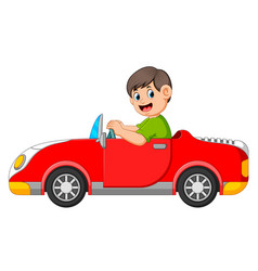Boy is driving car with good posing vector