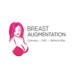 Breast augmentation logo with image and caption vector