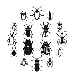 bugs icons set simple style vector image