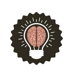 Bulb with brain icon vector