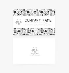 business cards with hand drawn doodle business vector image