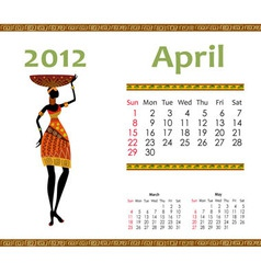 calendar for 2012 with an african woman vector image