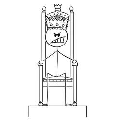Cartoon angry man or king sitting on royal vector