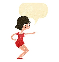 Cartoon girl pointing with speech bubble vector