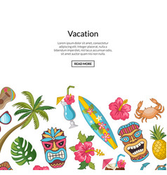 Cartoon summer travel elements background vector