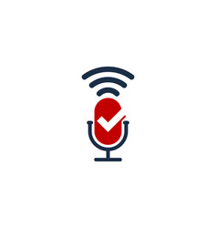 check podcast logo icon design vector image
