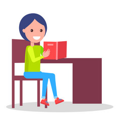 cheerful child sits at table and does homework vector image