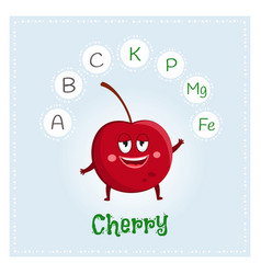 cherry fruit vitamins and minerals funny fruit vector image