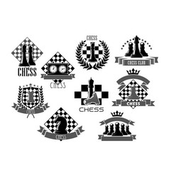 Chess icons for game club contest vector