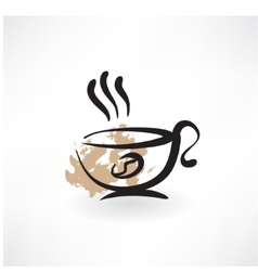 coffee cup grunge icon vector image