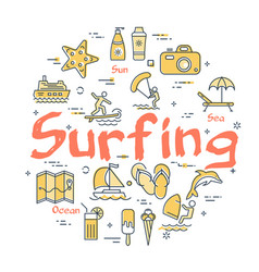 colorful icons in summer surfing theme vector image