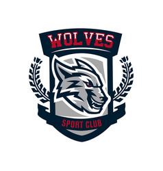 colourful emblem logo sticker aggressive wolf vector image