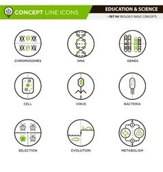 Concept Line Icons Set 4 Biology vector image