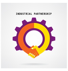 Creative handshake sign and industrial idea vector image vector image