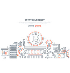 Cryptocurrency - line design style vector