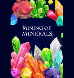 Crystals gemstones and gem stone minerals vector