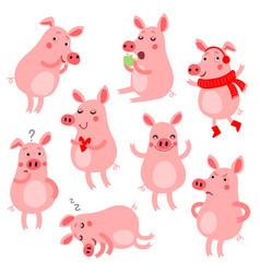 Cute pigs set vector