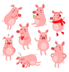cute pigs vevtor set vector image