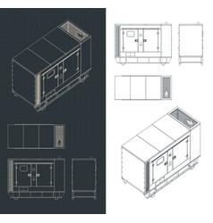 Diesel generator blueprints vector