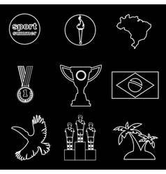 Digital brasil sport icons set vector