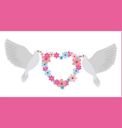 Doves carrying wreath flowers vector