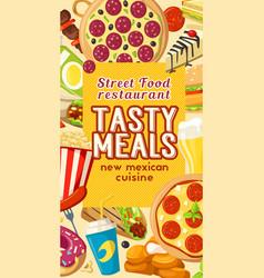 fast food street snacks restaurant menu vector image