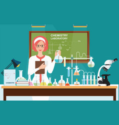 Female scientist at chemical laboratory science vector