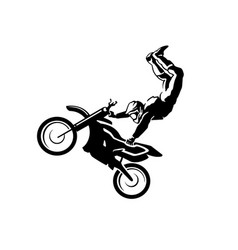 Flat moto free style racer icon isolated on white vector