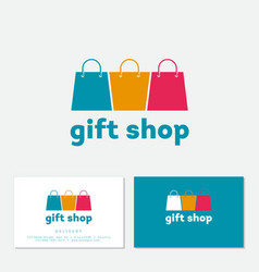 gifts shop logo online shop emblem three vector image