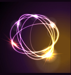 Glowing neon abstract circles shiny background vector