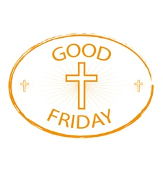 good friday stamp style with cross vector image