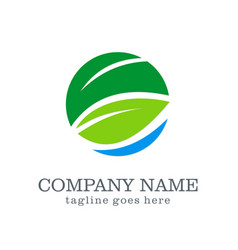 Green leaf business company logo vector